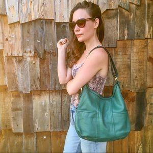 Tignanello Genuine Leather Green Shoulder Bag